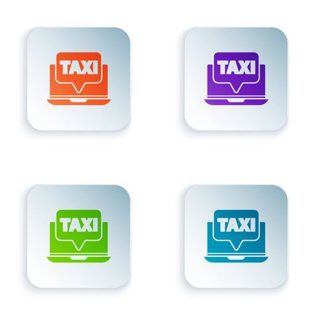 Color Laptop call taxi service icon isolated on white background. Set icons in square buttons. Vector Illustration 일러스트