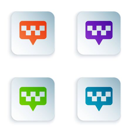 Color Map pointer with taxi icon isolated on white background. Location symbol. Set icons in square buttons. Vector Illustration