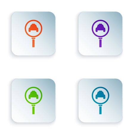 Color Magnifying glass and taxi car icon isolated on white background. Taxi search. Set icons in square buttons. Vector Illustration 일러스트