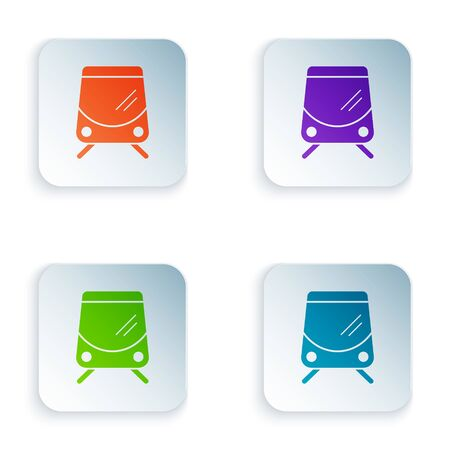 Color Tram and railway icon isolated on white background. Public transportation symbol. Set icons in square buttons. Vector Illustration