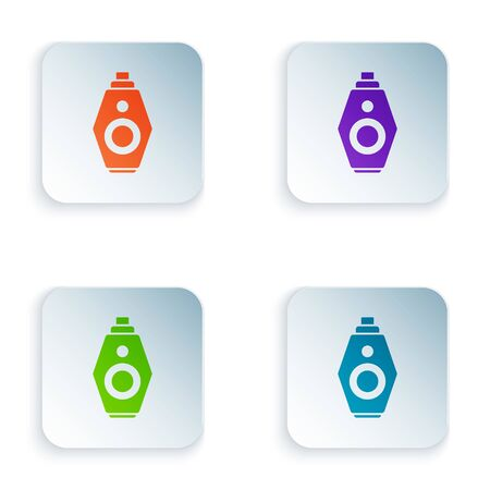 Color Car key with remote icon isolated on white background. Car key and alarm system. Set icons in square buttons. Vector Illustration