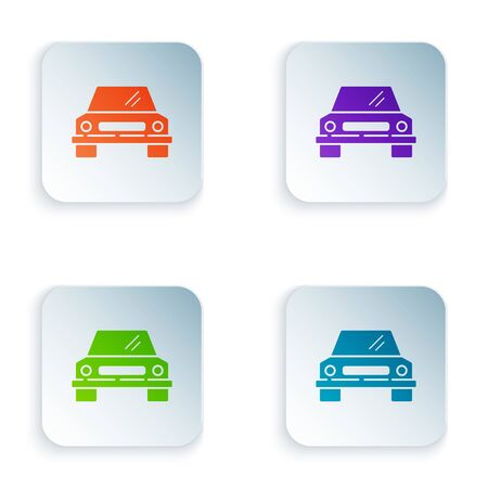 Color Car icon isolated on white background. Front view. Set icons in square buttons. Vector Illustration