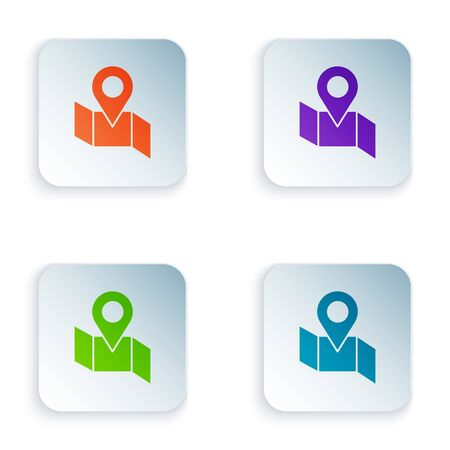 Color Folded map with location marker icon isolated on white background. Set icons in square buttons. Vector Illustration