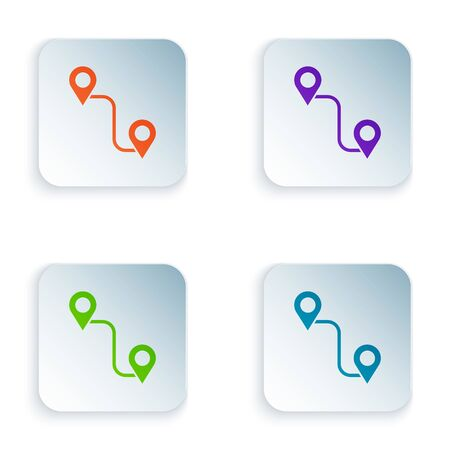 Color Route location icon isolated on white background. Map pointer sign. Concept of path or road. GPS navigator. Set icons in square buttons. Vector Illustration Ilustrace