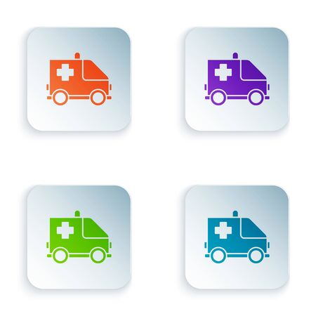 Color Ambulance and emergency car icon isolated on white background. Ambulance vehicle medical evacuation. Set icons in square buttons. Vector Illustration