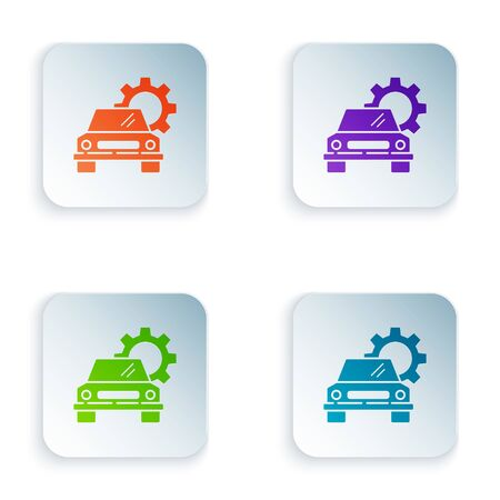 Color Car service icon isolated on white background. Auto mechanic service. Repair service auto mechanic. Maintenance sign. Set icons in square buttons. Vector Illustration Foto de archivo - 134874768