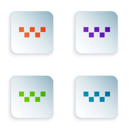 Color Taxi car roof icon isolated on white background. Set icons in square buttons. Vector Illustration