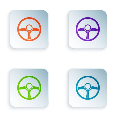 Color Steering wheel icon isolated on white background. Car wheel icon. Set icons in square buttons. Vector Illustration Foto de archivo - 134874925