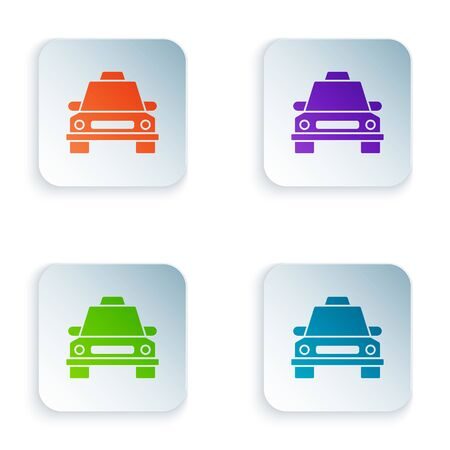 Color Taxi car icon isolated on white background. Set icons in square buttons. Vector Illustration