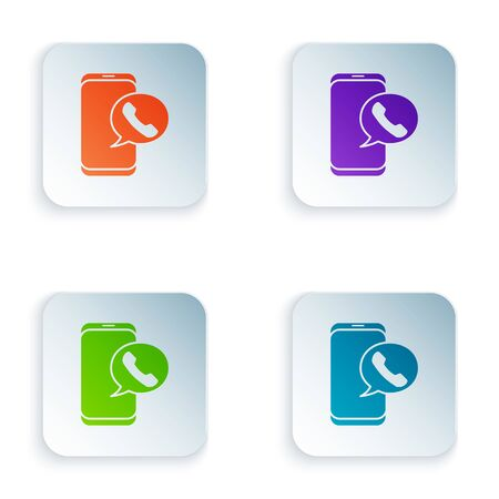 Color Taxi call telephone service icon isolated on white background. Taxi for smartphone. Set icons in square buttons. Vector Illustration Foto de archivo - 134874926