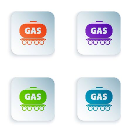 Color Gas railway cistern icon isolated on white background. Train gasoline tank on railway car. Rail freight. Set icons in square buttons. Vector Illustration Foto de archivo - 134874929