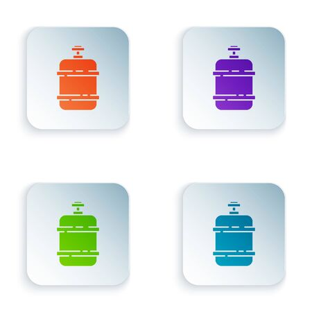 Color Propane gas tank icon isolated on white background. Flammable gas tank icon. Set icons in square buttons. Vector Illustration