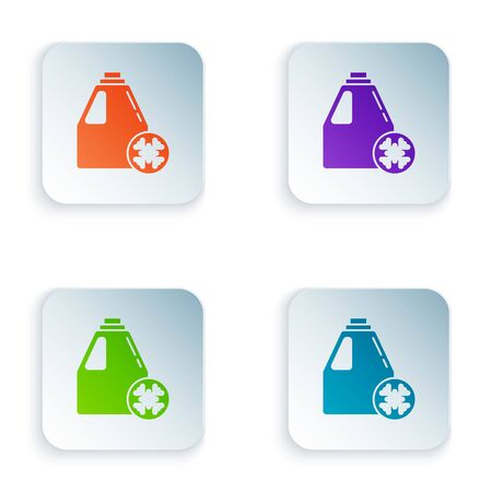 Color Antifreeze canister icon isolated on white background. Auto service. Car repair. Set icons in square buttons. Vector Illustration