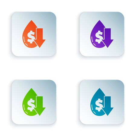 Color Drop in crude oil price icon isolated on white background. Oil industry crisis concept. Set icons in square buttons. Vector Illustration