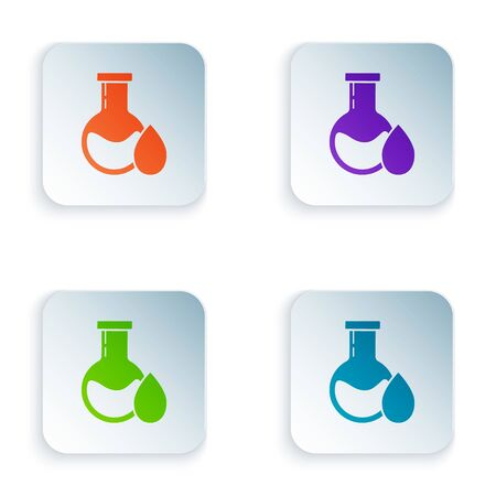 Color Oil petrol test tube icon isolated on white background. Set icons in square buttons. Vector Illustration Illustration