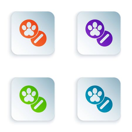 Color Dog and pills icon isolated on white background. Prescription medicine for animal. Set icons in square buttons. Vector Illustration Ilustracja