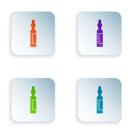Color Pets vial medical icon isolated on white background. Prescription medicine for animal. Set icons in square buttons. Vector Illustration
