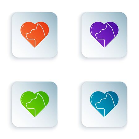 Color Heart with cat icon isolated on white background. Love to the animals. Set icons in square buttons. Vector Illustration Foto de archivo - 134874943