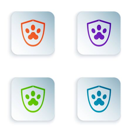 Color Animal health insurance icon isolated on white background. Pet protection icon. Dog or cat paw print. Set icons in square buttons. Vector Illustration
