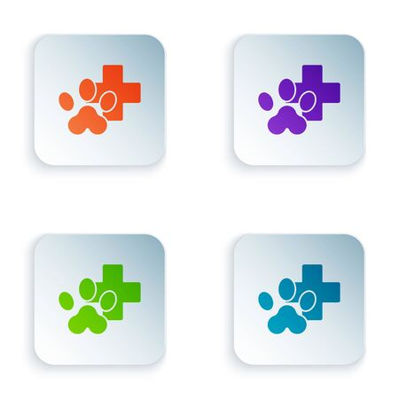 Color Veterinary clinic symbol icon isolated on white background. Cross hospital sign. Stylized paw print dog or cat. Pet First Aid sign. Set icons in square buttons. Vector Illustration