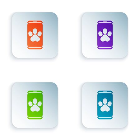Color Online veterinary clinic symbol icon isolated on white background. Cross with dog veterinary care. Pet First Aid sign. Set icons in square buttons. Vector Illustration