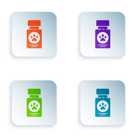 Color Dog medicine bottle and pills icon isolated on white background. Container with pills. Prescription medicine for animal. Set icons in square buttons. Vector Illustration Ilustracja