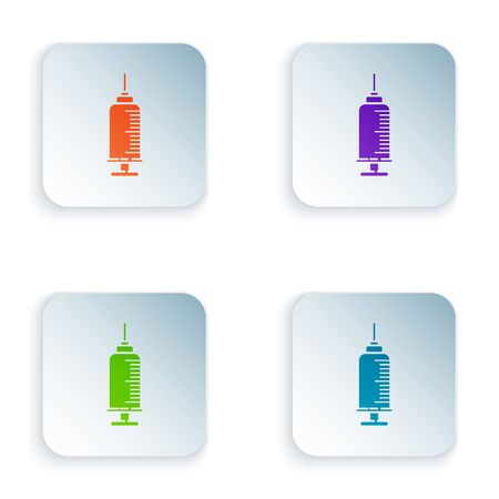 Color Syringe with pet vaccine icon isolated on white background. Dog or cat paw print. Set icons in square buttons. Vector Illustration