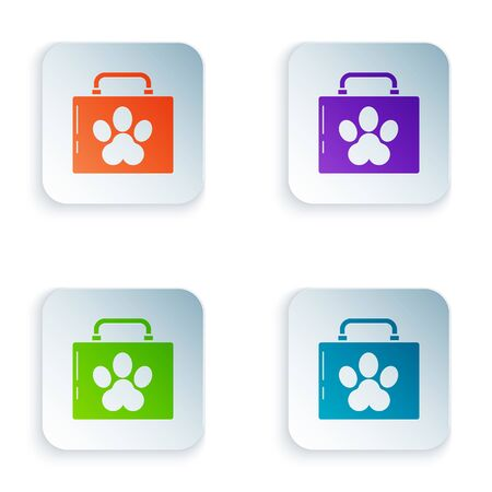 Color Pet first aid kit icon isolated on white background. Dog or cat paw print. Clinic box. Set icons in square buttons. Vector Illustration