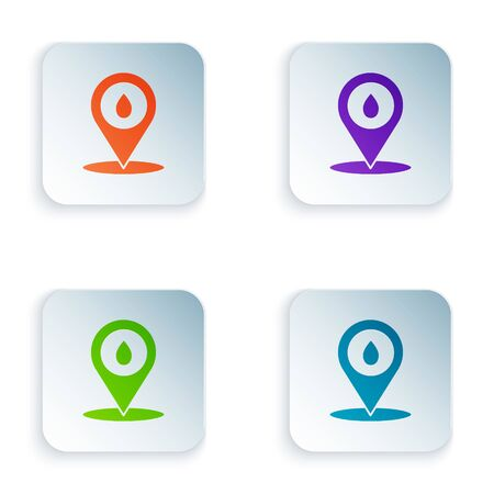 Color Refill petrol fuel location icon isolated on white background. Gas station and map pointer. Set icons in square buttons. Vector Illustration