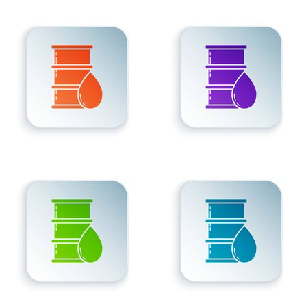 Color Barrel oil icon isolated on white background. Set icons in square buttons. Vector Illustration Illustration