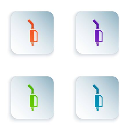 Color Gasoline pump nozzle icon isolated on white background. Fuel pump petrol station. Refuel service sign. Gas station icon. Set icons in square buttons. Vector Illustration Foto de archivo - 134875138