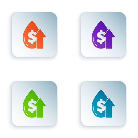 Color Oil price increase icon isolated on white background. Oil industry crisis concept. Set icons in square buttons. Vector Illustration