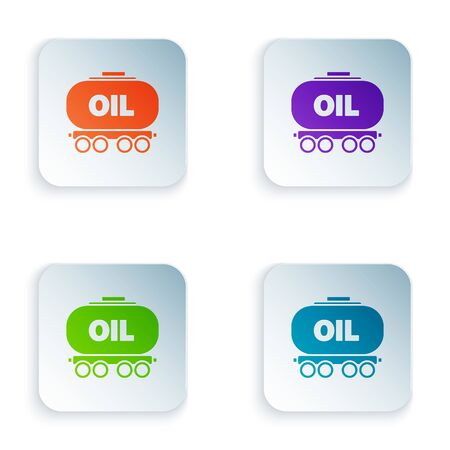Color Oil railway cistern icon isolated on white background. Train oil tank on railway car. Rail freight. Oil industry. Set icons in square buttons. Vector Illustration Foto de archivo - 134875141