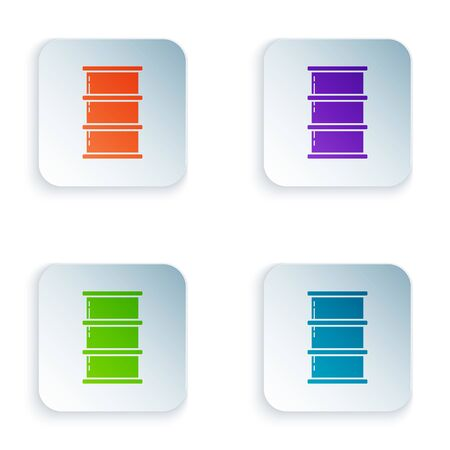 Color Barrel oil icon isolated on white background. Set icons in square buttons. Vector Illustration Stock Illustratie