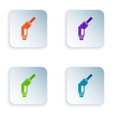 Color Gasoline pump nozzle icon isolated on white background. Fuel pump petrol station. Refuel service sign. Gas station icon. Set icons in square buttons. Vector Illustration Foto de archivo - 134875146