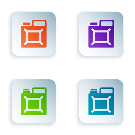 Color Canister for gasoline icon isolated on white background. Diesel gas icon. Set icons in square buttons. Vector Illustration