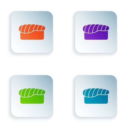 Color Sushi icon isolated on white background. Traditional Japanese food. Set icons in square buttons. Vector Illustration