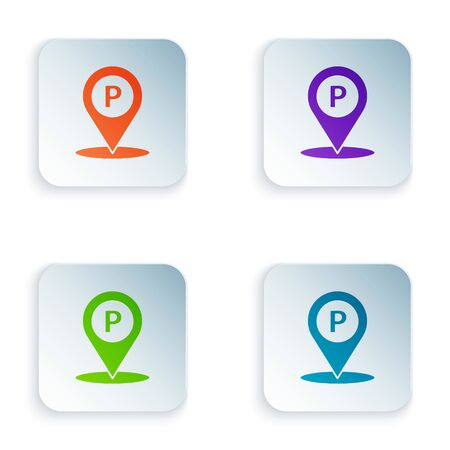 Color Location with parking icon isolated on white background. Street road sign. Set icons in square buttons. Vector Illustration 일러스트