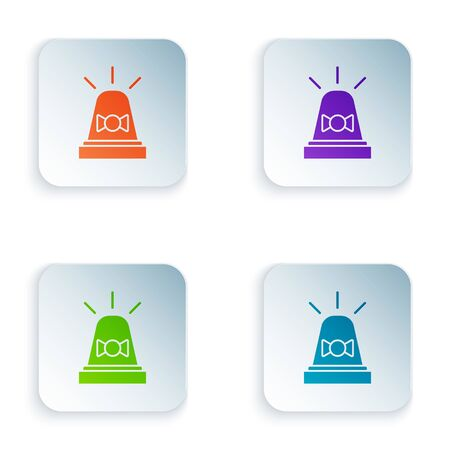 Color Flasher siren icon isolated on white background. Emergency flashing siren. Set icons in square buttons. Vector Illustration 일러스트