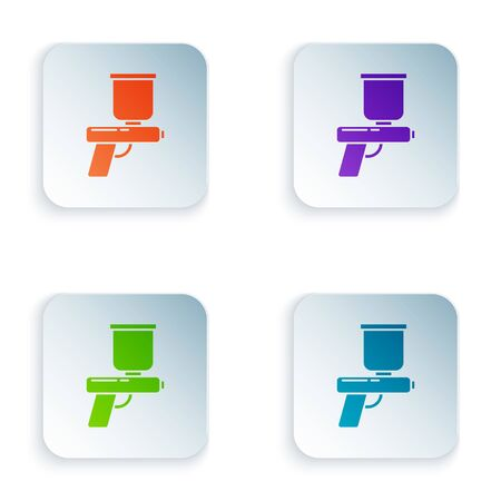 Color Paint spray gun icon isolated on white background. Set icons in square buttons. Vector Illustration Foto de archivo - 134875157