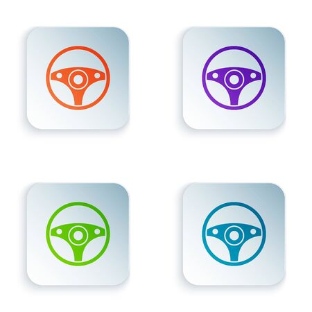 Color Steering wheel icon isolated on white background. Car wheel icon. Set icons in square buttons. Vector Illustration