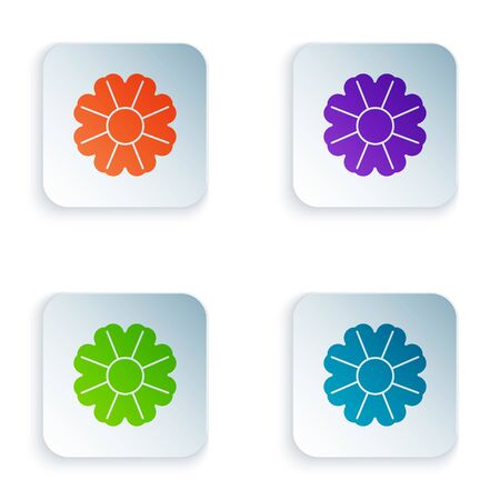 Color Flower icon isolated on white background. Set icons in square buttons. Vector Illustration Foto de archivo - 134875160