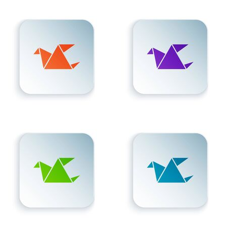 Color Origami bird icon isolated on white background. Set icons in square buttons. Vector Illustration Foto de archivo - 134875172