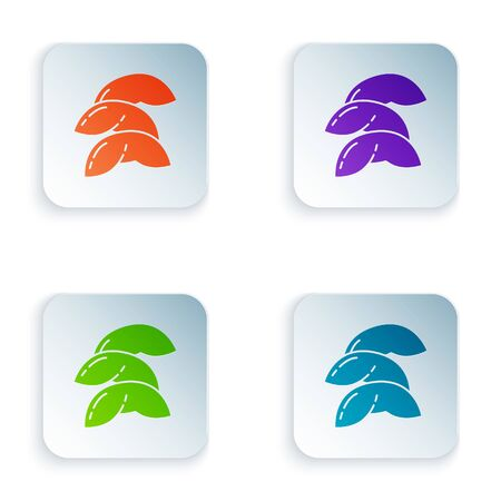 Color Chinese fortune cookie icon isolated on white background. Asian traditional. Set icons in square buttons. Vector Illustration Ilustracja
