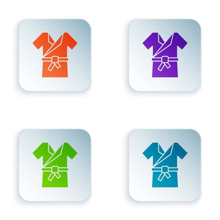 Color Japanese traditional costume Kimono icon isolated on white background. Set icons in square buttons. Vector Illustration