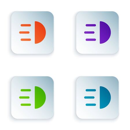 Color High beam icon isolated on white background. Car headlight. Set icons in square buttons. Vector Illustration Illustration