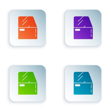 Color Car door icon isolated on white background. Set icons in square buttons. Vector Illustration Foto de archivo - 134875198