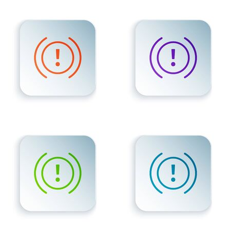 Color Brake system warning icon isolated on white background. Exclamation mark in the car. Dashboard attention sign. Set icons in square buttons. Vector Illustration