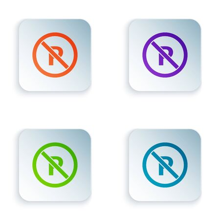 Color No Parking or stopping icon isolated on white background. Street road sign. Set icons in square buttons. Vector Illustration Foto de archivo - 134875212