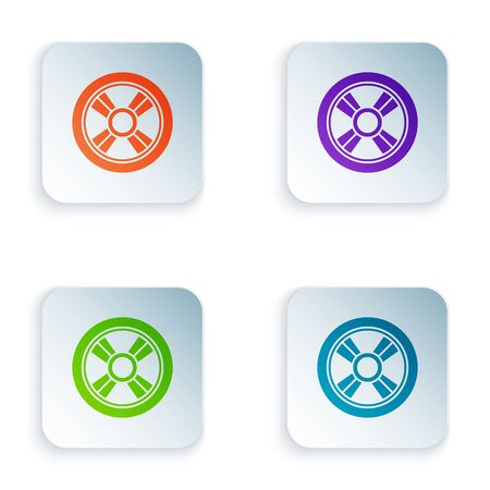 Color Car wheel icon isolated on white background. Set icons in square buttons. Vector Illustration Foto de archivo - 134875213